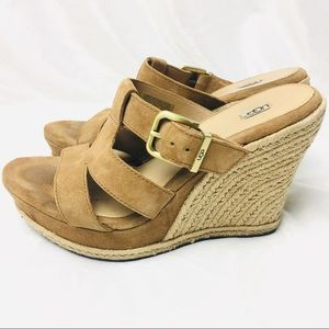Ugg Hedy Tan Wedge Heel Sling Back Sandals Sz 8.5.